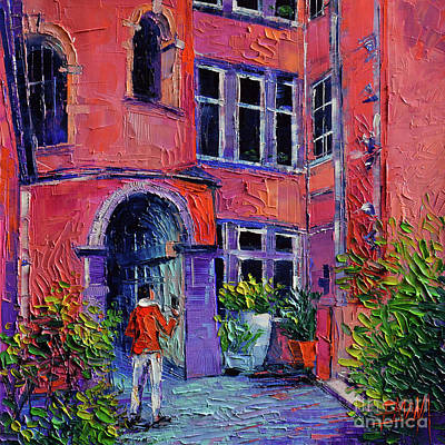 Painting - At The Tour Rose - Lyon France by Mona Edulesco