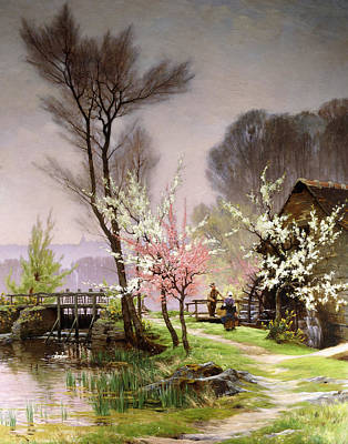At The Watermill   Spring Art Print by Henri Saintain