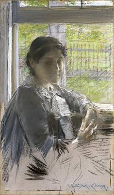 Woman At The Window Painting - At The Window by William Merritt Chase