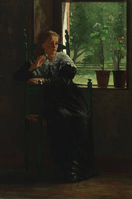 Woman At The Window Painting - At The Window by Winslow Homer