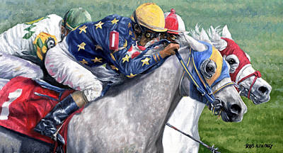 Horse Painting - At The Wire by Thomas Allen Pauly