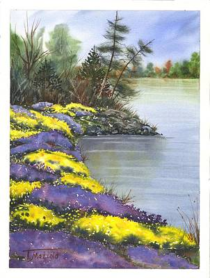 Wooden Platform Painting - At Waters Edge by Antonio Mazzola