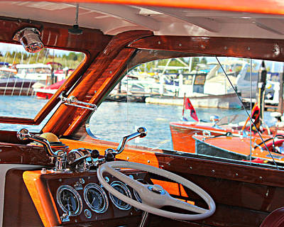 Wooden Boat Photograph - At Wheel Of A Wooden Classic by Steve Natale