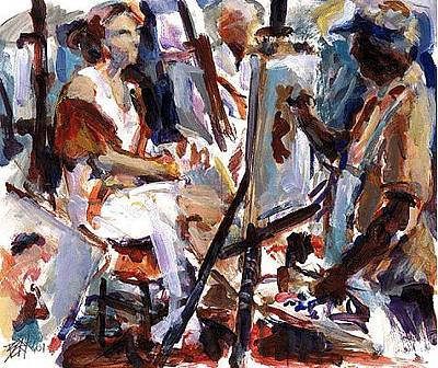 Painting - At Work by Chuck Berk