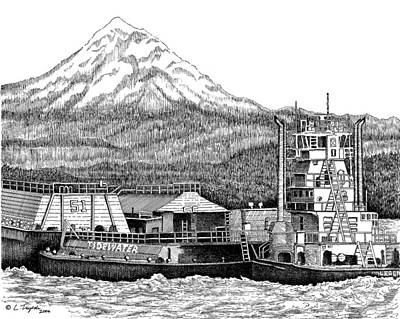 Drawing - At Work On The Columbia by Lawrence Tripoli