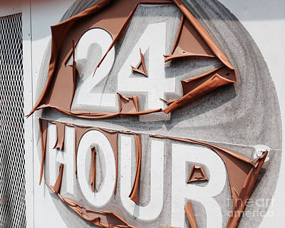 At Your Service 24 Hours - Old Sign Art Print by Jason Freedman