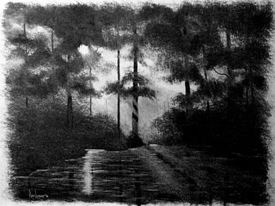 Cypress Tree Drawing - Atchafalaya Sunrise by Ron Landry