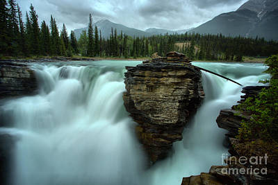 Photograph - Athabasca Falls Around The Boulder by Adam Jewell