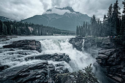 Alberta Photograph - Athabasca Falls Desaturated by Joan Carroll