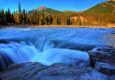 Athabasca Falls In Jasper National Park Print by Mark Duffy