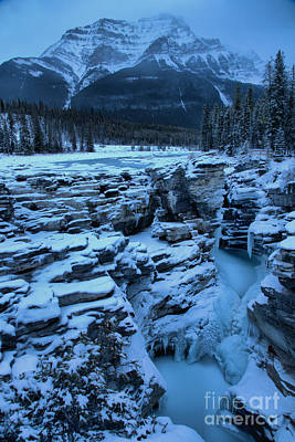 Photograph - Athabasca Falls Winter Blues by Adam Jewell