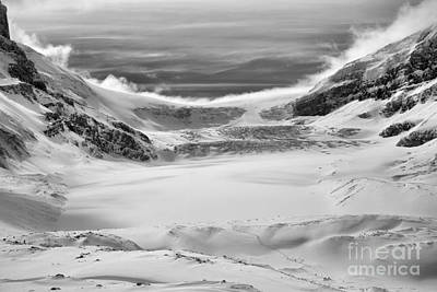 Photograph - Athabasca Glacier Scenic Winter Black And White by Adam Jewell