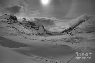 Photograph - Athabasca Glacier Winter Black And White by Adam Jewell