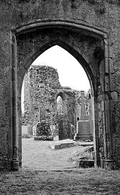 Rustic Photograph - Athassel Priory Ireland Medieval Ruins Arched Doorway To Courtyard Black And White by Shawn O'Brien