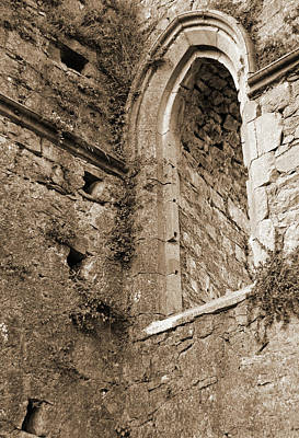 Rustic Photograph - Athassel Priory Ireland Medieval Ruins Arched Window Sepia by Shawn O'Brien
