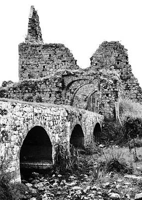 Photograph - Athassel Priory Irish Medieval Abbey Ruins Bridge And Gatehouse Arches Tipperary Black And White by Shawn O'Brien
