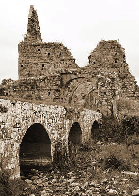 Photograph - Athassel Priory Irish Medieval Abbey Ruins Bridge And Gatehouse Arches Tipperary Sepia by Shawn O'Brien