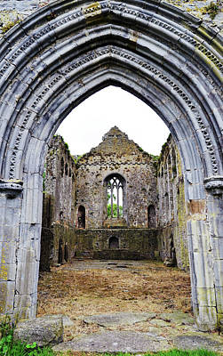 Photograph - Athassel Priory Tipperary Ireland Medieval Ruins Decorative Arched Doorway Into Great Hall by Shawn O'Brien
