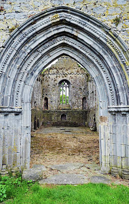 Photograph - Athassel Priory Tipperary Ireland Medieval Ruins Layered Arched Doorway Into Great Hall by Shawn O'Brien