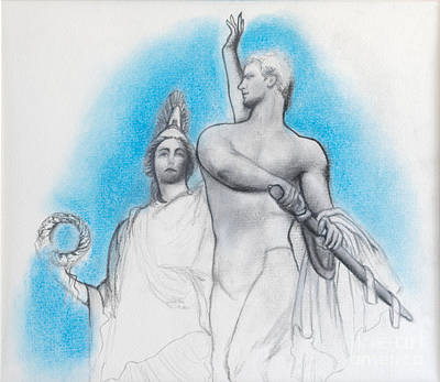 Greek Icon Drawing - Athena Counseling Diomedes by Gabriela Junosova