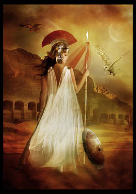 Goddess Digital Art - Athena by Mary Hood