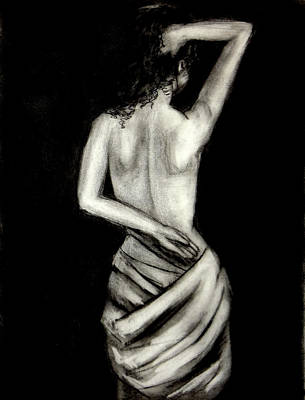 Drawing - Athena Nude Woman Drawing by Katy Hawk