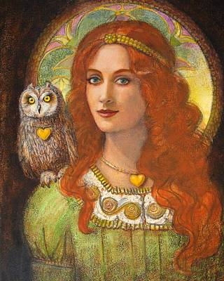Painting - Athena And Her Owl- Wise Ones by Sue Halstenberg