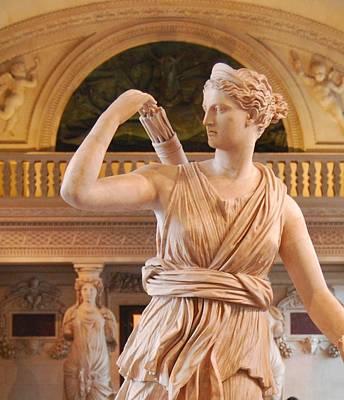 Art Print featuring the digital art Athena Statue by Nancy Bradley