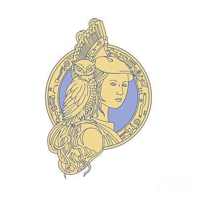 Athena Digital Art - Athena With Owl On Shoulder Circuit Circle Mono Line by Aloysius Patrimonio