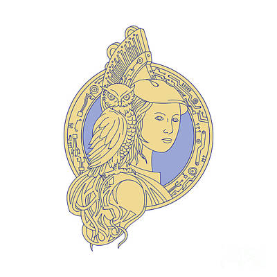 Athena With Owl On Shoulder Circuit Circle Mono Line Art Print