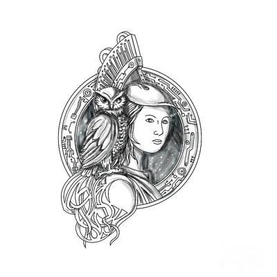 Athena Digital Art - Athena With Owl On Shoulder Electronic Circuit Circle Tattoo by Aloysius Patrimonio