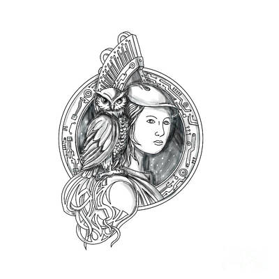 Athena With Owl On Shoulder Electronic Circuit Circle Tattoo Art Print