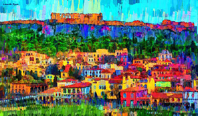 House Digital Art - Athens Cityscape - Da by Leonardo Digenio