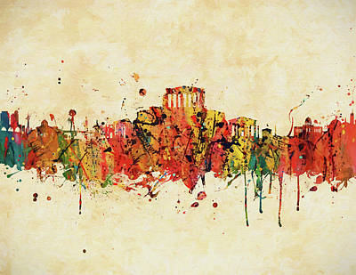 Painting - Athens Colorful Skyline by Dan Sproul