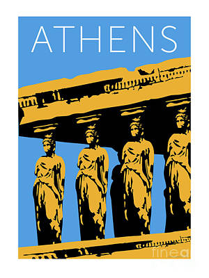 Digital Art - Athens Erechtheum Blue by Sam Brennan