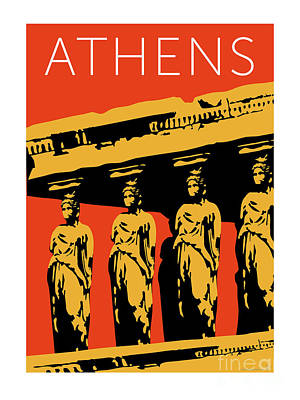 Digital Art - Athens Erechtheum Orange by Sam Brennan