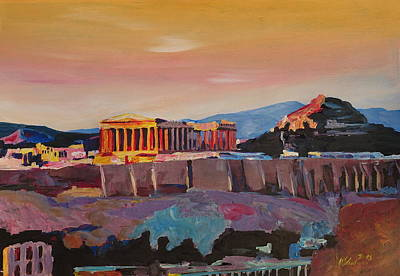 Athens Greece Acropolis At Sunset Original by M Bleichner