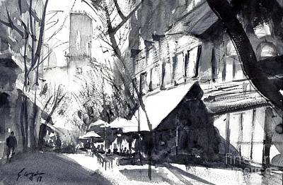 Painting - Athens Morning Walk Mono by Sof Georgiou
