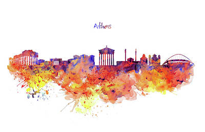 Skylines Mixed Media - Athens Skyline by Marian Voicu