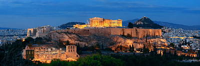 Photograph - Athens Skyline Night by Songquan Deng