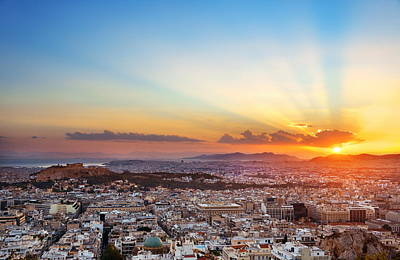 Photograph - Athens Skyline Sunset From Mt Lykavitos by Songquan Deng