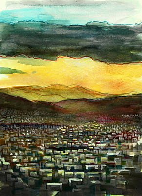 Painting - Athens Sun Behind the Clouds by Robert Spittlehouse
