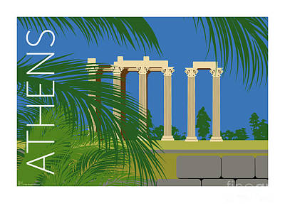 Digital Art - Athens Temple Of Olympian Zeus - Blue by Sam Brennan
