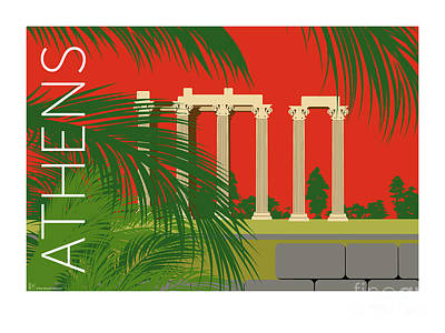 Digital Art - Athens Temple Of Olympian Zeus - Orange by Sam Brennan
