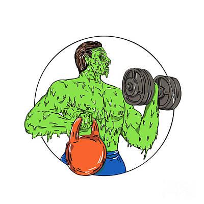 Athlete Fitness Dumbbell Kettlebell Grime Art Art Print
