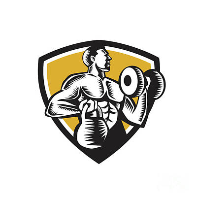 Athlete Lifting Kettlebell Dumbbell Crest Woodcut Art Print by Aloysius Patrimonio