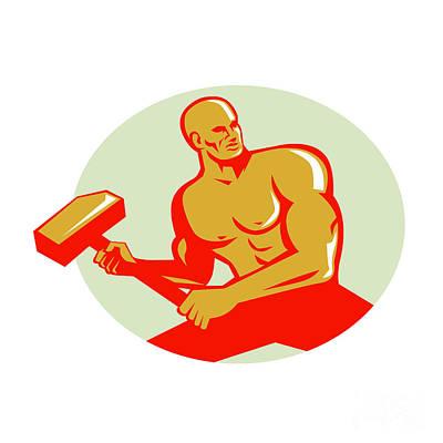 Athlete With Sledgehammer Training Oval Retro Art Print