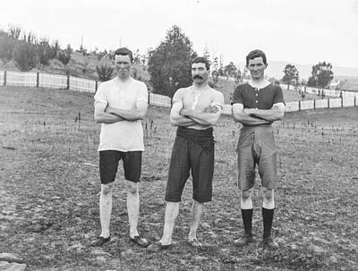 Athletes Royalty-Free and Rights-Managed Images - Athletics, North Hobart Oval, Tasmania c1900s by Celestial Images