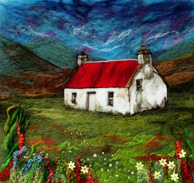 Needle Felting Mixed Media - Athnamulloch Bothy by Karen Price