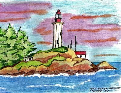 Drawing - Atkinson Point Lighthouse by Paul Meinerth
